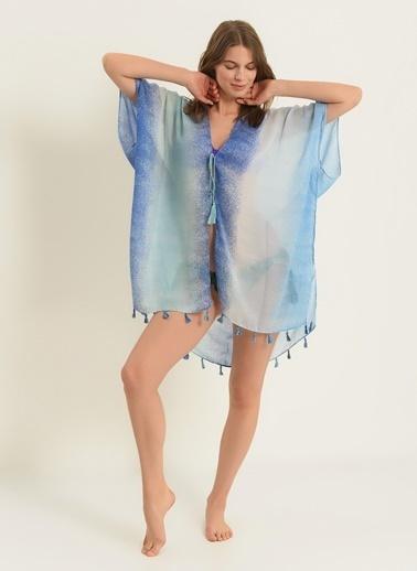 Morhipo Beach Kadın Püsküllü Kimono MBKSS21KI0005 Mavi